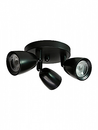 SPOT LED DIRECT MR16 12W PRETO | BASE CIRCULAR