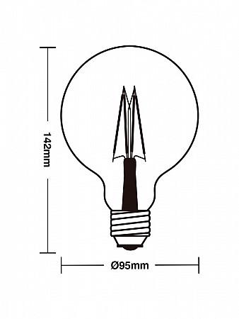 LÂMPADA LED FILAMENTO VINTAGE G80 4W AMBAR E27