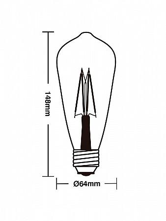LÂMPADA LED FILAMENTO ST64 4W 2700K E27
