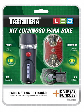 KIT BIKE FAROL E LANTERNA LED
